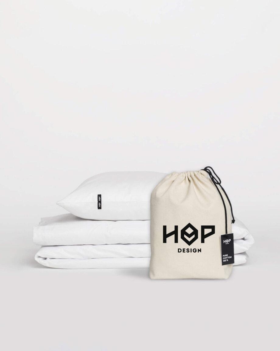 Pościel HOP DESIGN – czysta bawełna – biała