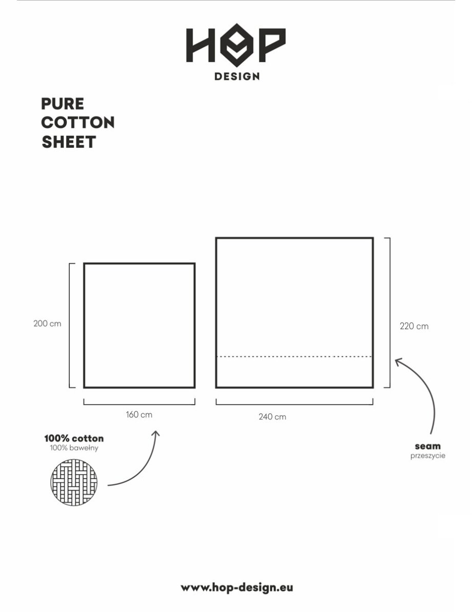 PURE COTTON SHEET wymiary