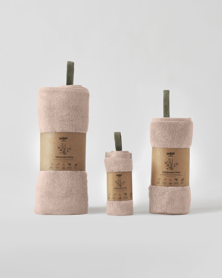 Ręcznik bambusowy brudny róż